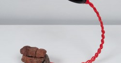 John Newman, Spoonfuls (darker red view), 2015, mixed media, 14 ½ x 4 ½ x 14 inches