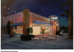 Mark Hosmer - The Movie House Diner - Oil on Panel - 24 Inches x 34 Inches - © All Rights Reserved