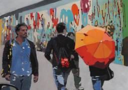"""Helga Zumstein. Berlin Wall 1. Acrylic on Canvas. 39.5""""x39.5"""""""